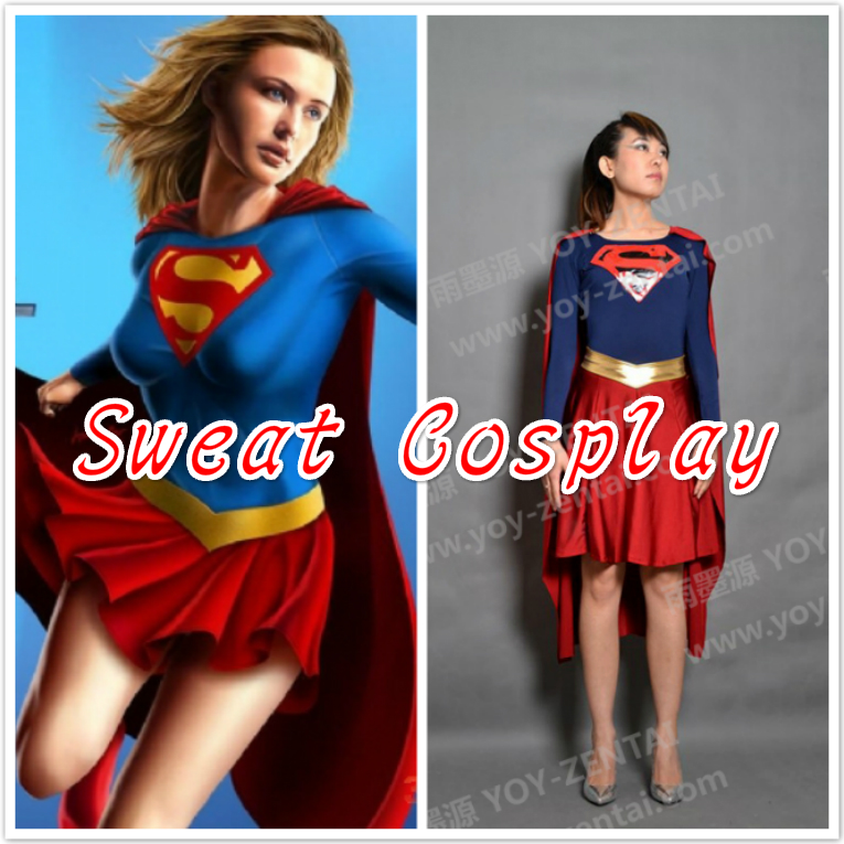 Supergirl Costume red and blue Spandex Lycra Zentai Superhero Cosplay Costume