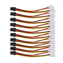 10pcs/lot 4 Pin to 6 Pin Molex PCI-E External Graphics Card Power Cable Converter High Quality