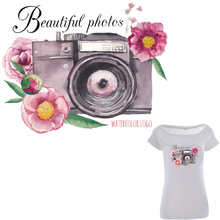 Flower Camera Patches For Clothing DIY Accessory Decoration Heat Print On T-shirt Dresses A-level Washable Patch Stickers