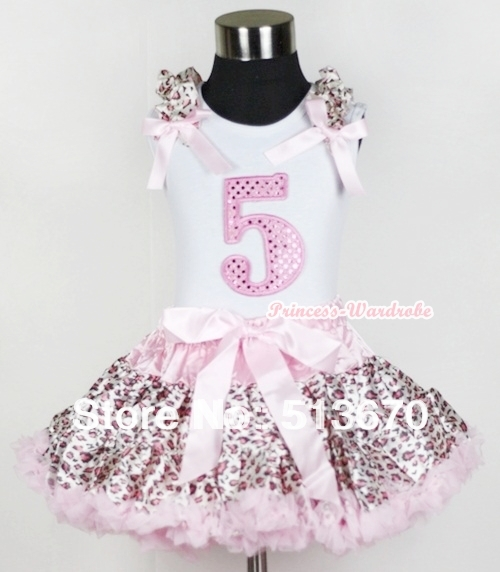 White Tank Top 5th Sparkle Light Pink Birthday Number with Light Pink Leopard Ruffles Bow Light Pink Leopard Pettiskirt MAMG552<br>