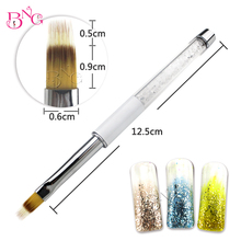1pc Nail Art Comb Brush Rhinestone Metal Handle Nylon Hair Nail Gel Brush Painting Brush