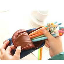 4pcs/lot Pencil Bag Carton Case 4 Styles Castle/Soldier/Bus/Flag Canvas+PU Red/Blue Material Escolar School Supplies 18*9*5cm