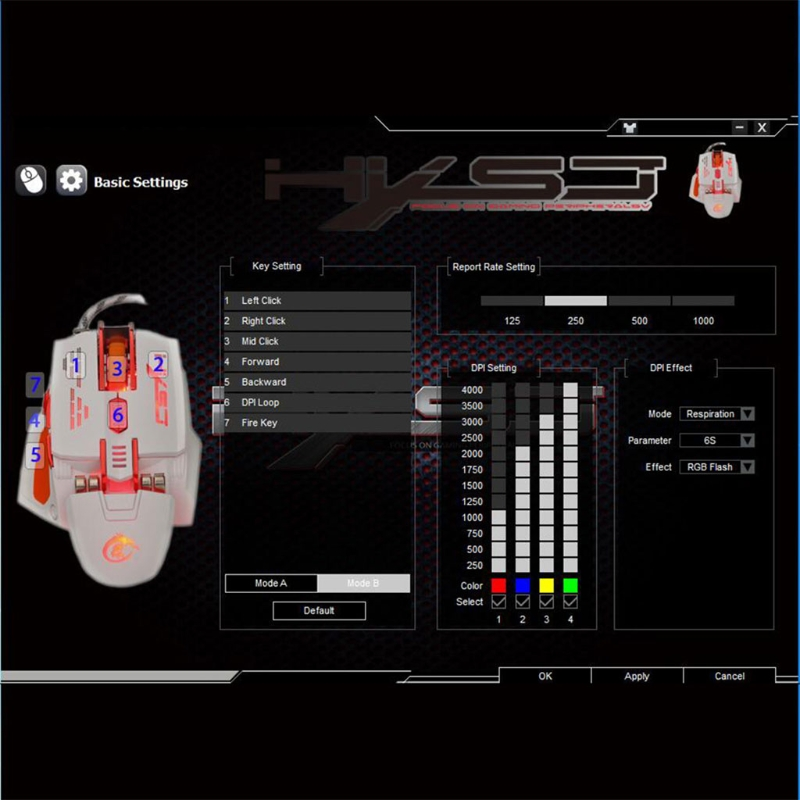 Professional X200 4000DPI LED Optical USB Wired Gaming Mouse 7 Buttons Macro Definition Game Pro Gamer Computer