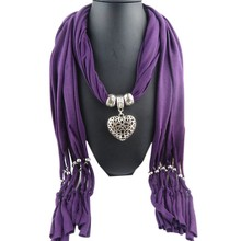 Fashion Women Beads Hollow Peach Heart Pendant Necklace Scarves Wrap Shawl Scarf With Tassel