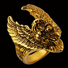 Men's Gold Ride Punk Motor Biker Eagle Motorcycle Ring ,Stainless Steel Classic gold Ring Jewelry ,Wholesale jewelry