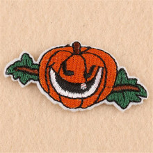 Embroidered iron on patches for clothes 55mm pumpkin deal with it clothing biker patch DIY Halloween Sticker Free shipping(China)
