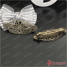 (23941)4PCS Antique Bronze Color Big Hair Clips with Flower Hair Jewelry Diy Jewelry Findings Accessories Wholesale