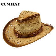 Cowboy Hats For Men Orange Beads Decoration Women Cowboy Hats Casual Hollow Adult Straw Hat Summer Cowboy Hats Caps Accessories