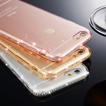 Silicone Clear Cases for iphone 5 5s se 6 6S 7 Plus Transparent Diamond Soft TPU Cover case Accesories Rhinestone(China)