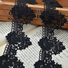 10M/lot Handmade DIY black lace trims embroidery lace wedding curtains clothing side decorative lace accessories materials SC513