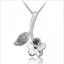 Hot Sell Silver Plated Flower Necklaces Pendants with High Quality Austria Crystal SWA Element For Women Birthday Gift(China)
