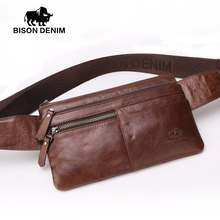 Bison Denim Vintage Genuine Leather Waist bag Ipad Mini Cowhide waist pack bag money belt waist pouch Men Bag W2443&4