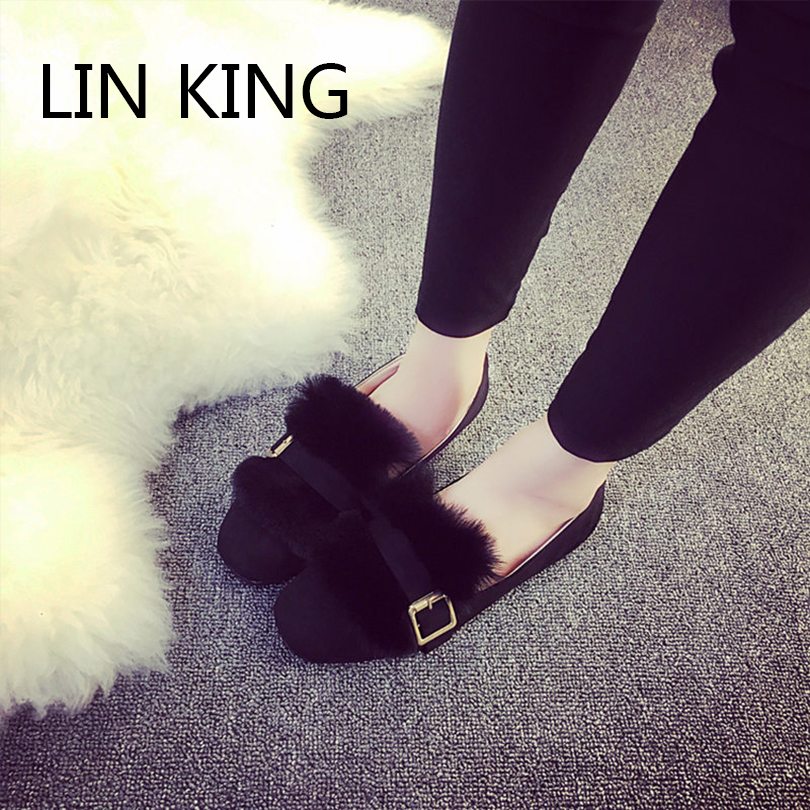 LIN KING New Arrival Women Flat Shoes Flock Slip-on Round Toe Solid Plush Flats All-Match Massage Winter Lady Single Shoes<br><br>Aliexpress