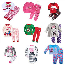 2017 Girls Pijama Christmas Pajamas Pijama Infantil Kids Girl Pyjama Enfant Sets Children Pijamas Todder Sleepwear Santa Kitty(China)