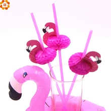 New Arrival!50PCS Cute DIY 3D Flamingo Straw Plastic Drinking Straws Kids Birthday/Wedding/Pool Party Decoration Supplies(China)