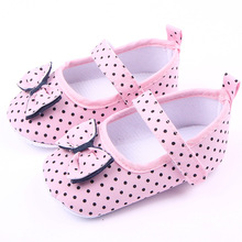 Kids Girls First Walkers Ninas Newborn Infantil Polka Dot Knot Bow Baby Toddlers Zapatos Shoes Bebes Brand Children(China)