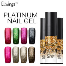 Ellwings Shining Glitter Platinum Nail Foil Glue UV LED Lucky Gel Lacquer 3D Paint Fingernails Gel Nail Polish Primer