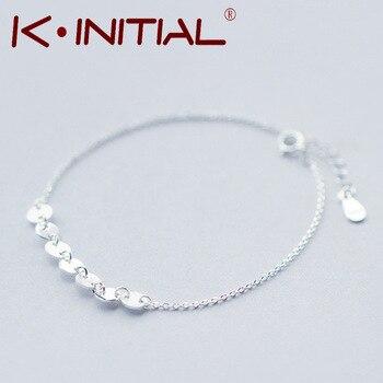 Kinitial 1Pcs Fashion Luxury 925 Silver Wrist pulseira Jewelry Round Bangle Bracelet Disc Button Charms Female Cuff Accessories