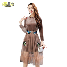 New Spring Women Dress Casual Lace Long Female Vestido European style Elegant Women High quality Round neck Loose Dresses WKM541(China)