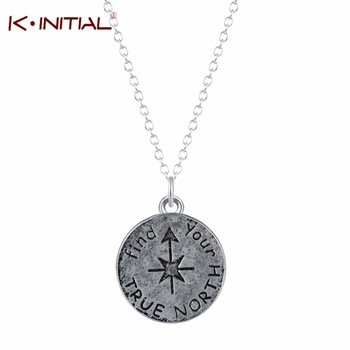 1Pcs Vintage Find Your True North Necklace Jewelry Silver Antique Compass Necklace Pendant Charm Body Chain Choker Necklace