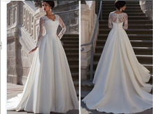 Luxury custom 2015 new style Charming New Model See Through Back Top Lace Satin Long Sleeve Wedding Dress 2015 vestidos de noiva