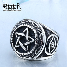 Beier One Piece Sale Factory Price Men's Unique Design Gothic Style Five Star Ring 316l Titanium Stainless Steel Jewelry BR8-380