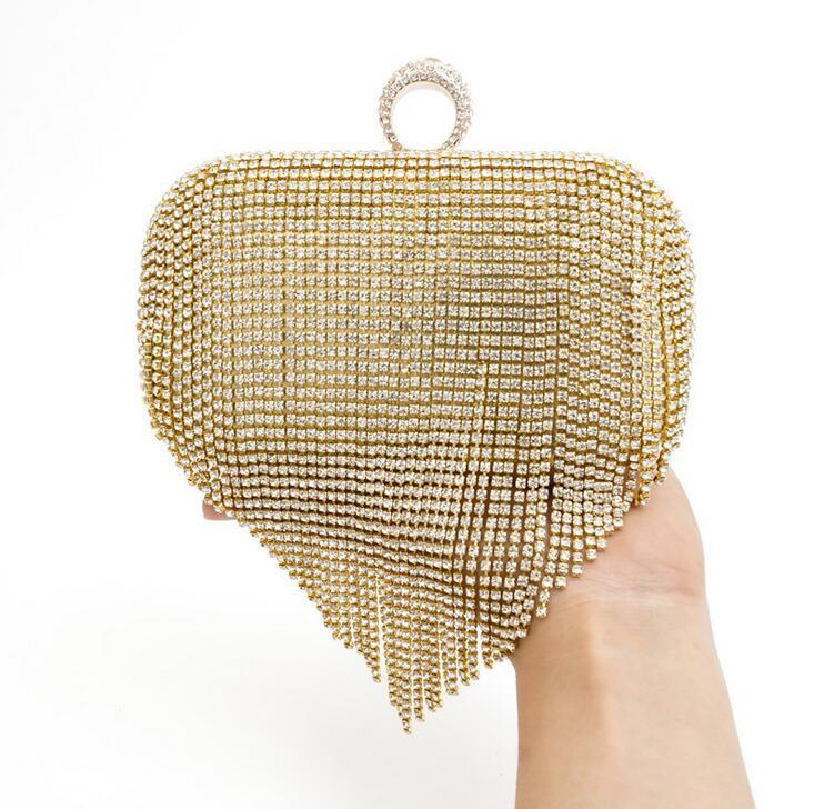 Tassel Rhinestone Finger Ring Evening Bags Fashion Women Wedding Handbags Women Clutch Shoulder Bags Purse Bag Handbags<br><br>Aliexpress