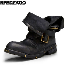 Vintage Size 10 43 Wide Calf 12 44 Metal Chunky Stud Rivet Women Ankle Boots 2016 Round Toe Shoes Big Genuine Leather Black Flat