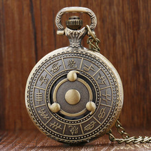 Hot Japanese Animation Naruto Theme Bronze Quartz Pendant Pocket Watch With Necklace Chain Best Gift To Men Women(China)