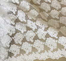 White shine bridal french net lace African Swiss lace fabric with beads for sewing wedding lace aso ebi 5 yards per piece 9113