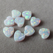 20pcs/lot 8mm Double Flat Heart Opal OP17 Snow Heart Opal Drilled Synthetic Cabochon Heart Opal