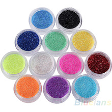 11.11 ! New 12 Colors Nail Art Decoration Metal Powder Glitter Dust Set For UV Gel Acrylic BBXT