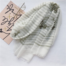 New Leaves Pearl beads scarf Retro Literature and art Long Scarf Women's Cotton multicolour Wild elegant Design Pashminas Shawl