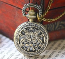wholesale buyer price good quality fashion vintage new bronze mini butterfly pocket watch necklace with chain hour