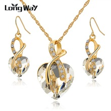 LongWay Austrian Crystal Necklace Earrings Set Gold Color Heart Crystal Jewelry Set For Women Engagement Jewelry Sets SET140044