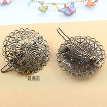 (5 pieces/lot) Hansenne vintage style flower hair clips antique bronze plated women's frog clip hair jewelry cl0312