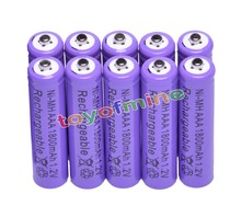 10x AAA 1800mAh 3A 1.2 V Ni-MH Purple Rechargeable Battery Cell for MP3 RC Toys