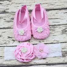 Birthday gift baby girls pearl diamonds shoes +flower headwear set cute princess footwear kids ake pictures of the shoes 17A801(China)