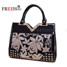 New fashion women bag sequin embroidery Luxury patent leather famous brands design handbag women messenger bags(China)