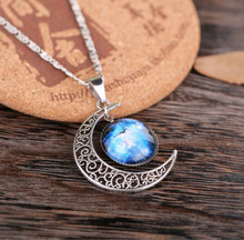 2016 New Hot Jewelry Fashion Statement Necklace Glass Pendant Galaxy Lovely Silver Chain Necklace Female Moon(China)