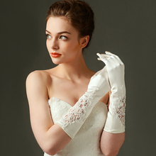 Elbow Finger Stretch Lace Appliqued Pearl Beaded High Quality Satin Ivory Wedding Bridal Gloves Ceremony Party Elegant Glove