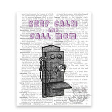 Vintage telephone keep calm & call Mom art post  Keep Calm Quote Quote Art- Mixed Media art print Vintage Dictionary harvest