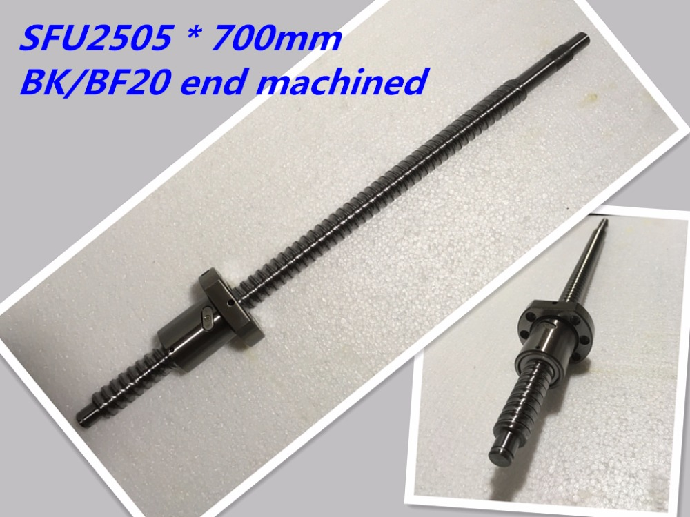 1pc 25mm Ball Screw Rolled C7 ballscrew 2505 SFU2505 700mm BK20 BF20 end processing+1pc SFU2505 METAL DEFLECTOR Ballscrew nut<br>
