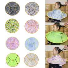 Foldable Kids Haircut Apron Cartoon Pattern Round Hair Cutting Hairdressing Styling Tool Gown Apron Baby Barber Cape Apron