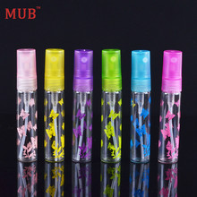 MUB - (100pcs/lot) New Fashion Butterfly Printing Plastic Sprayer Atomizer 5ml Mini Glass Perfume Bottle With 6 Colors