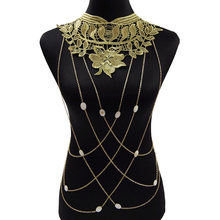 Gold Belly Chain Long Tassel Mujer Collar Boho Body Jewelry Floral Leaf Bead Charms Women Gift Body Chain@M23