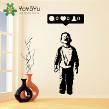 Removable Banksy Vinyl Wall Decal Boy Crying Out for Social Media Attention Child With Facebook Phone Kids Bedroom Poster NY-57