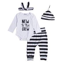 Autumn Newborn Infant Baby Clothes New to the Crew Long Sleeve Bodysuit Tops+Striped Pant Legging Hat Headband Outfit Clothing