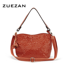 28*19.5*11.5cm, Everyday Use Embossed Flower Bag,Women Genuine Leather Shoulder Bag, Sweet Girl Messenger Crossbody bags A008(China)