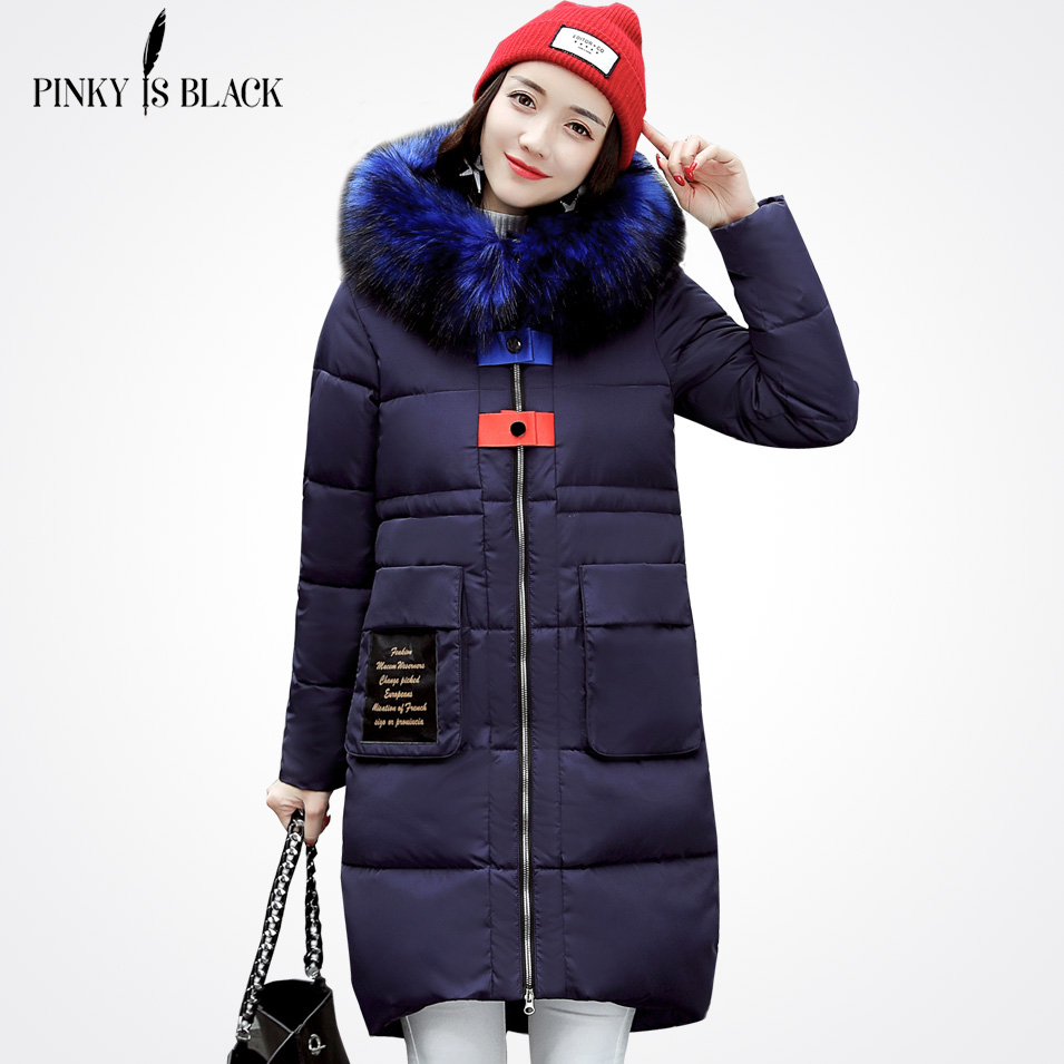 Pinky Is Black 2017 Detachable Large Fur Fashion Long Parkas Winter Jacket Coat Women Outerwear Thickening Cotton-padded JacketÎäåæäà è àêñåññóàðû<br><br>